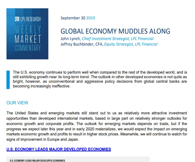 Global Economy Muddles Along | Weekly Market Commentary | September 30, 2019