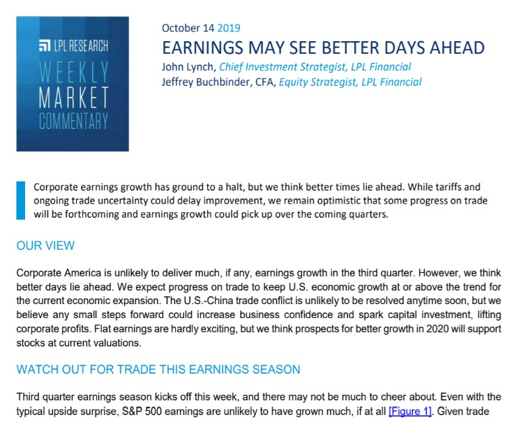 Earnings May See Better Days Ahead   Weekly Market Commentary   October 14, 2019