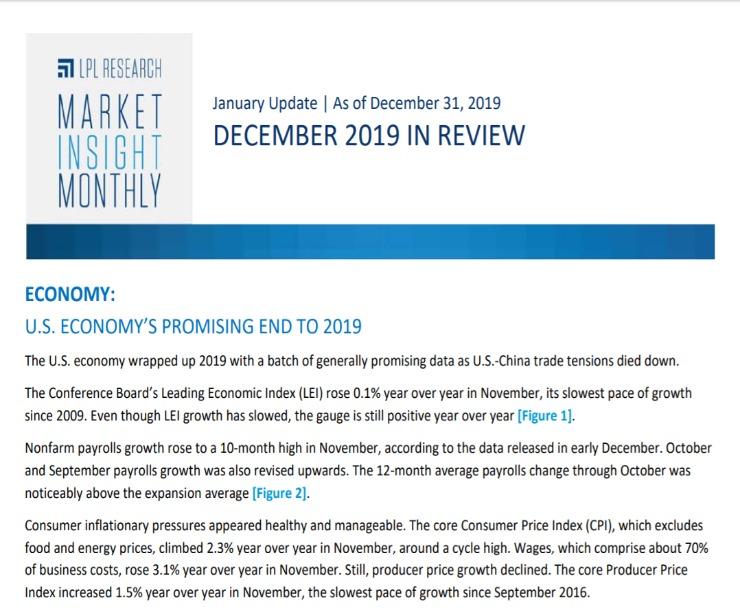 Market Insight Monthly   December 31, 2019