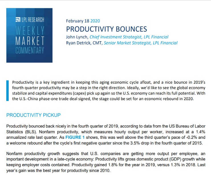 Productivity Bounces   Weekly Market Commentary   February 18, 2020
