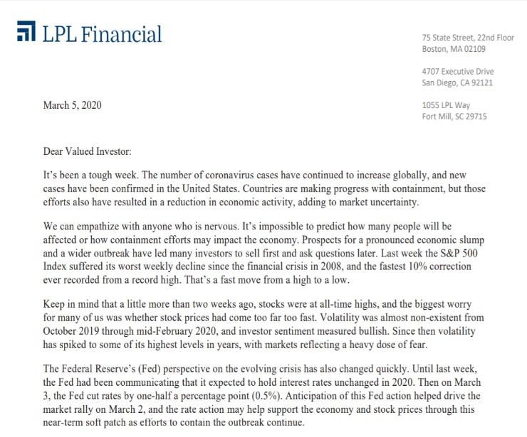 Client Letter | March Markets Like A Lion | March 5, 2020