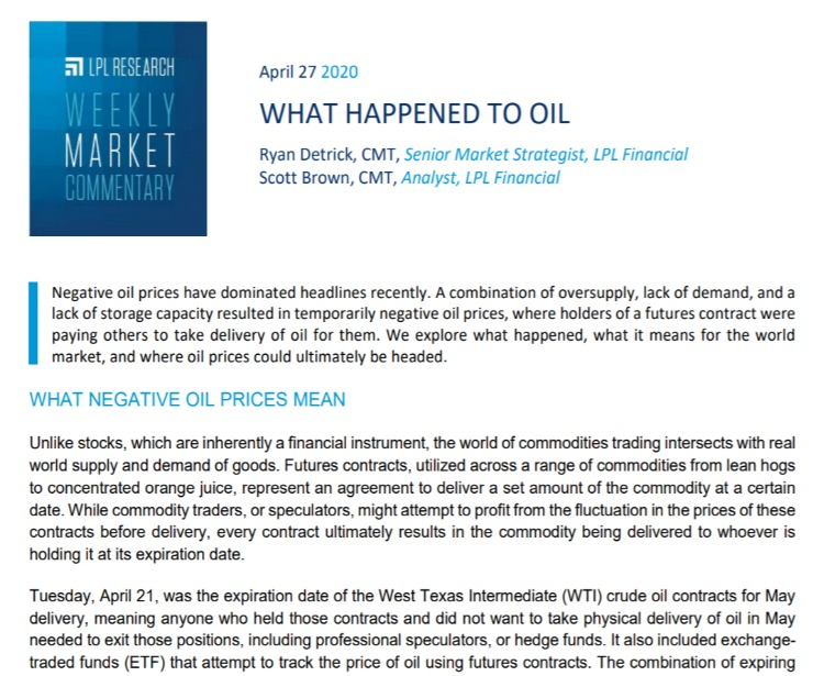 What Happened to Oil| Weekly Market Commentary | April 27, 2020