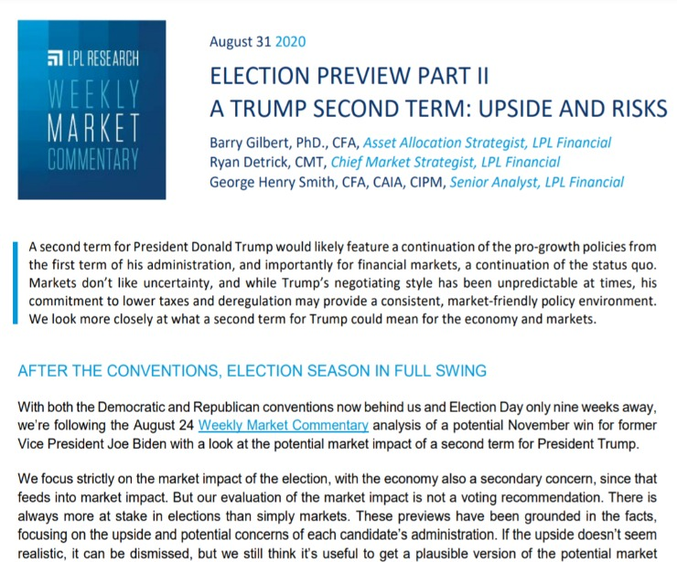 A Trump Second Term: Upside and Risks | Weekly Market Commentary | August 31, 2020