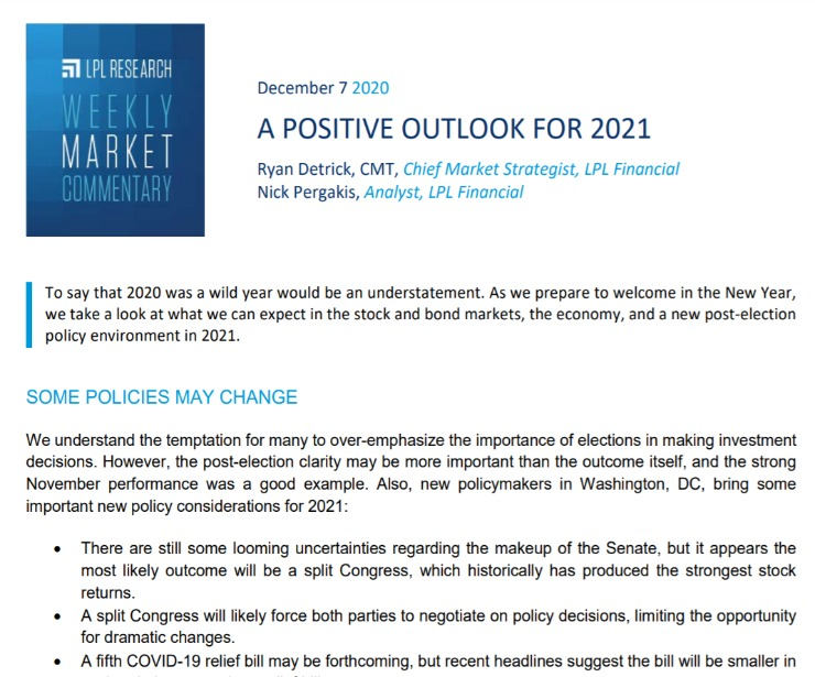 A Positive Outlook for 2021 | Weekly Market Commentary | December 7, 2020