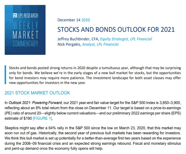 Stocks and Bonds Outlook for 2021 | Weekly Market Commentary | December 14, 2020
